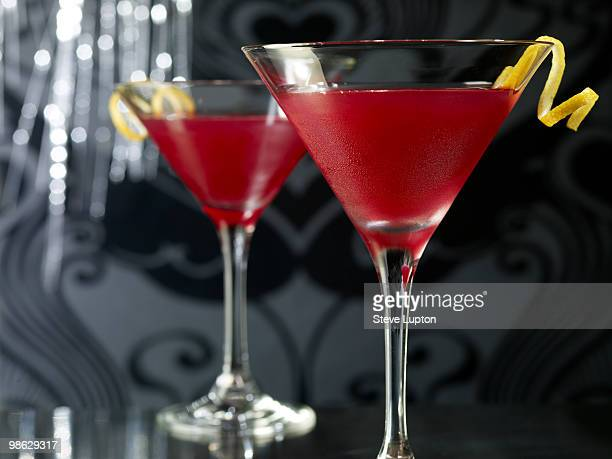 Two Cosmopolitan Cocktail Drinks