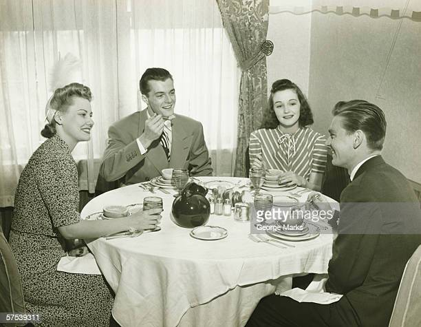 Two Couples Having Dinner BW