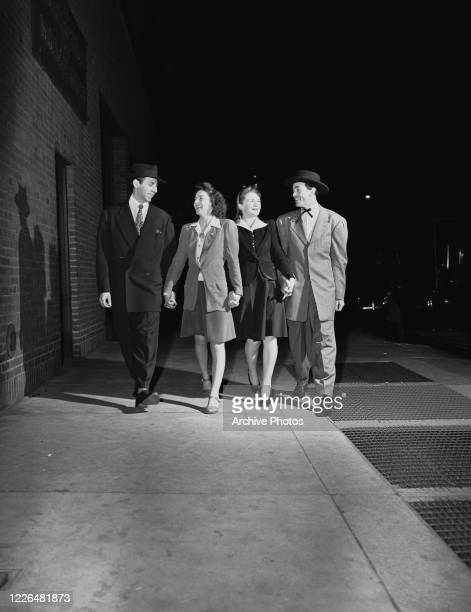 Two couples on a night out in New York City circa 1942