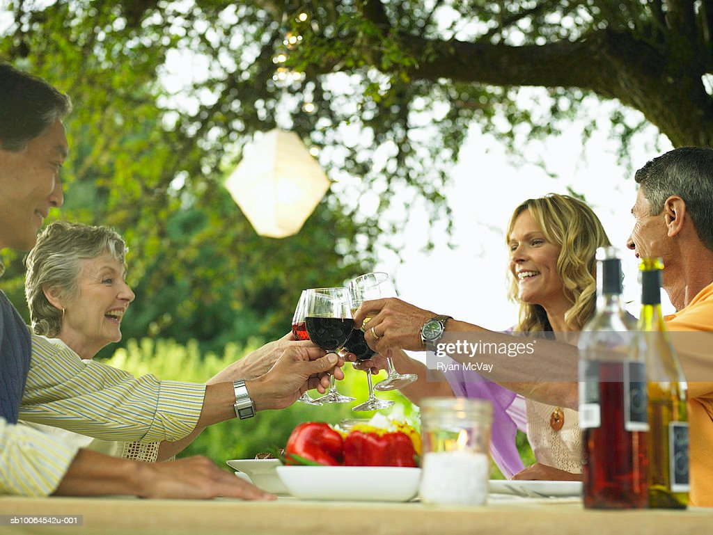 Two couples toasting at dining table in yard : Stock Photo