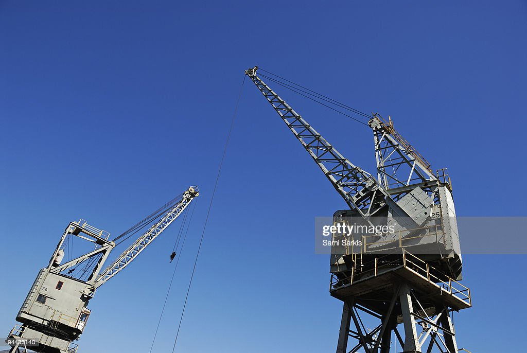 Two cranes at harbor : Stock Photo