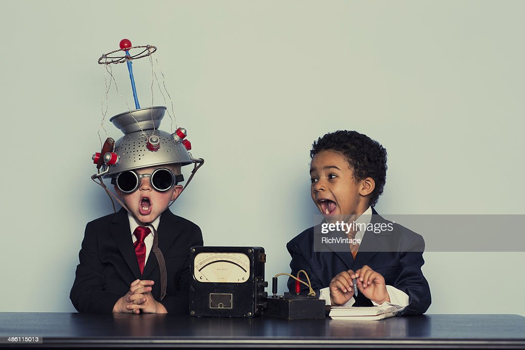 Two Crazy Business Boys Search Minds For Ideas : Stock Photo