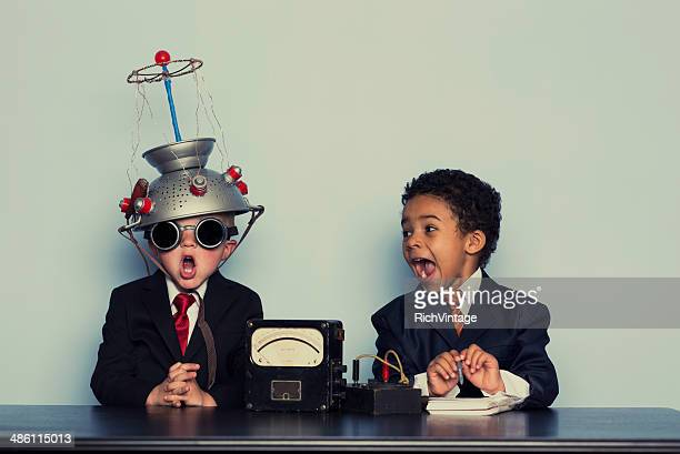 Two Crazy Business Boys Search Minds For Ideas
