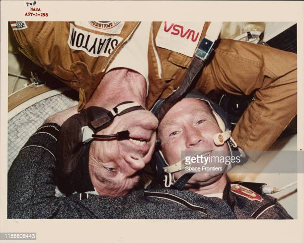 Two crewmen of the joint USUSSR ApolloSoyuz Test Project pictured during the mission July 1975 They are Donald K 'Deke' Slayton the American Docking...
