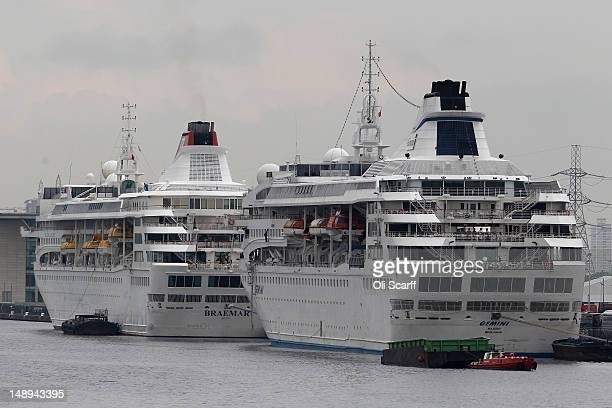 Two cruise liners the Braemar and the Gemini are moored in the Royal Albert Dock to provide accommodation for thousands of Olympic workers on July 20...