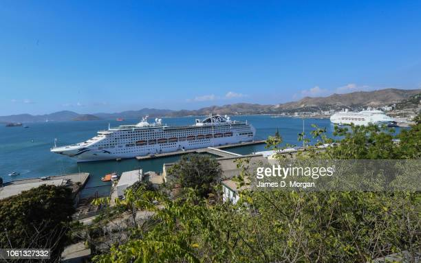 Two cruise ships provided by Carnival Australia to APEC 2018 berthed in the harbour on November 14 2018 in Port Moresby Papua New Guinea The APEC...