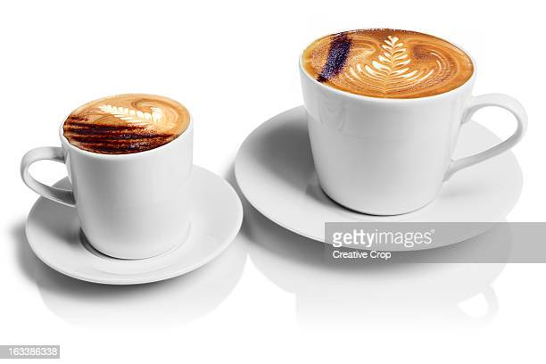 Two cups of cappuccino coffee