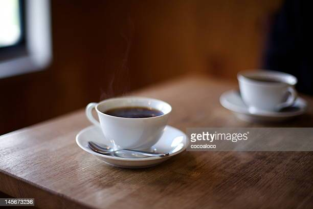 two cups of coffee - saucer stock pictures, royalty-free photos & images