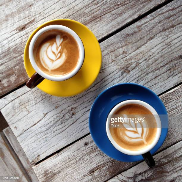 two cups of coffee - two objects stock photos and pictures