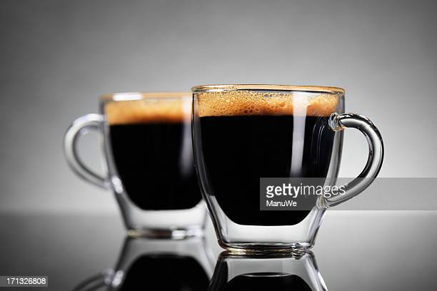 two cups of espresso - espresso stock photos and pictures