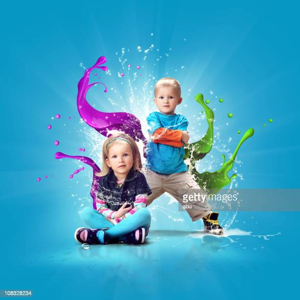 Two cute and colorful dressed kids