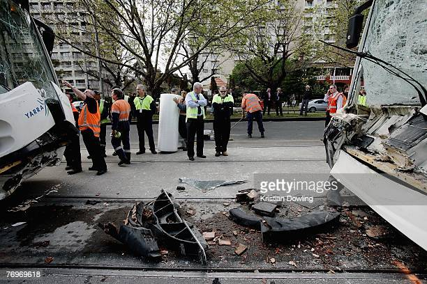 Two damaged trams are seen following a collision between a car and two trams on St Kilda Road on September 24 2007 in Melbourne Australia Twelve...