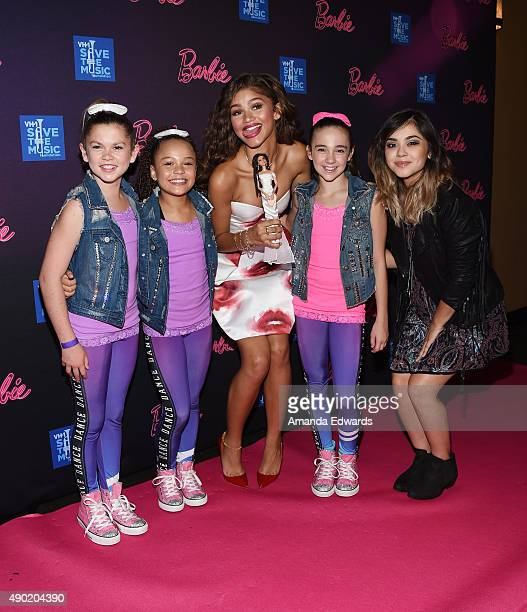 Two dancers actress and singer Zendaya dancer Kaycee Rice and singersongwriter Alyssa Bernal attend the Barbie Rock 'N Royals Concert Experience at...