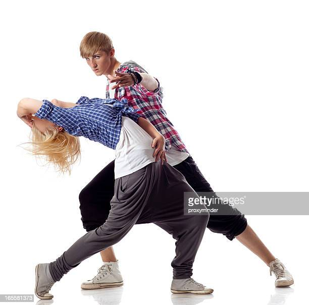 Two dancers on white background