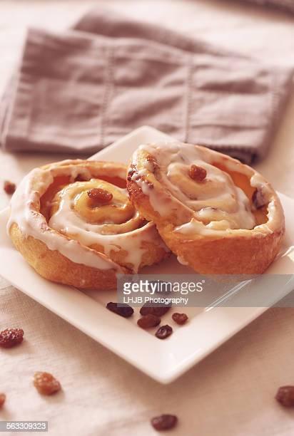 Two Danish Cinnamon-Raisin Swirls