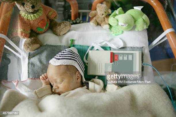 Two day old, premature baby boy, sleeping in hospital bed