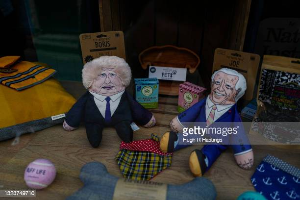 Two days after the end of the G7 Summit during which the G7 leaders stayed in St Ives, dog toy figures of Boris Johnson and Joe Biden are seen for...