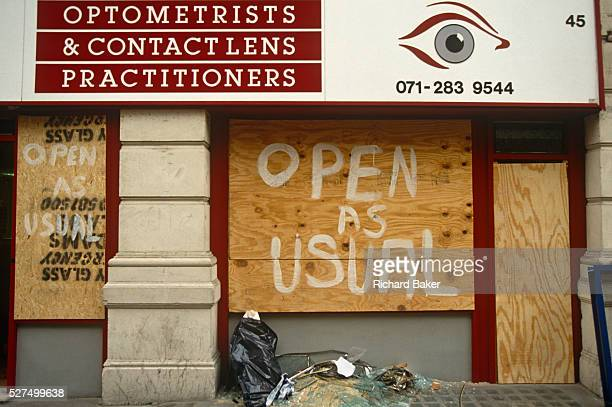 Two days after the Irish Republican Army exploded a truck bomb on Bishopsgate an optometrist's business remains open but it is boarded up with...