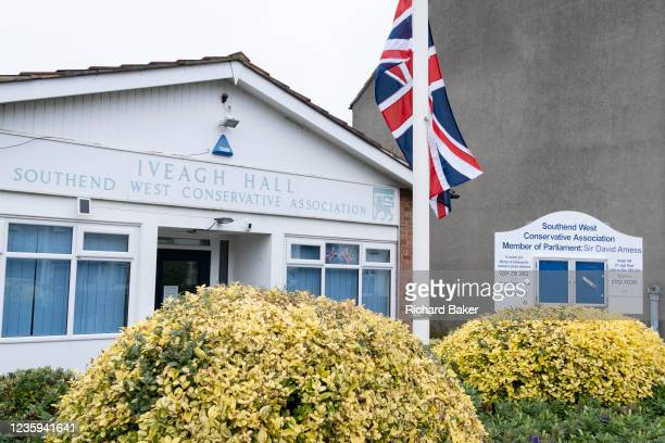 Two days after the killing of the Conservative member of parliament for Southend West, Sir David Amess MP, a Union Jack is at half-mast outside his...