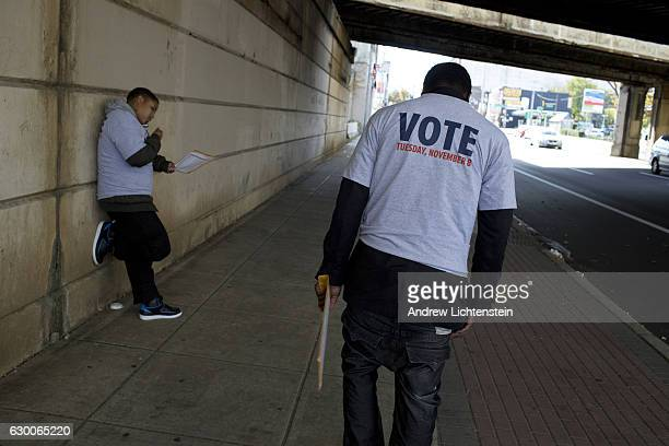 Two days before the 2016 Presidential elections Democratic Party volunteers canvass an AfricanAmerican neighborhood in North Philadelphia reminding...