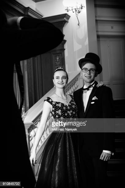 Two debutants pose for a photographer during the Semper Opera Ball 2018 at Semperoper on January 26 2018 in Dresden Germany