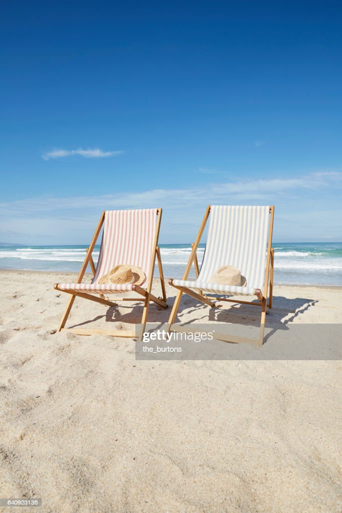 Two Deck Chairs At Beach : Stock Photo