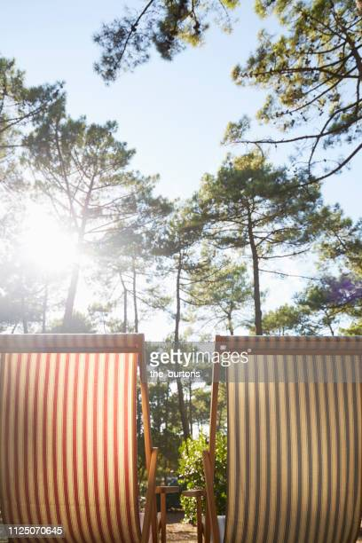 two deck chairs in the forest - cap ferret photos et images de collection