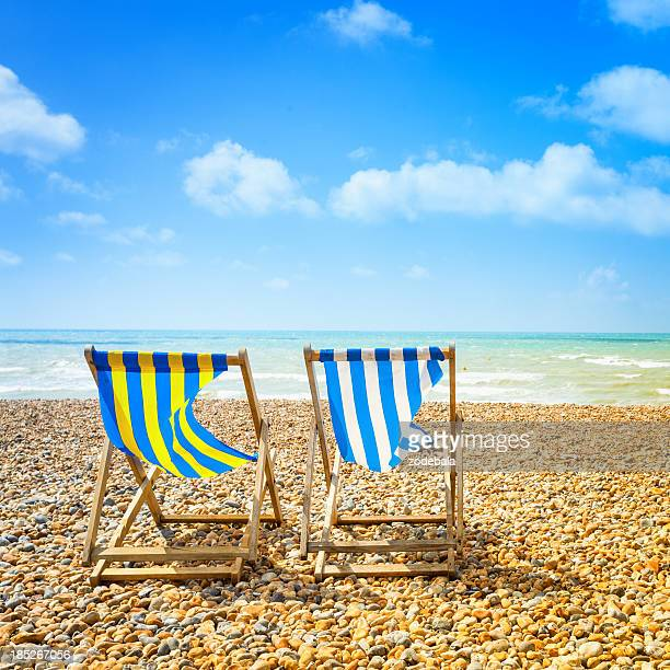 Two Deckchair in Brighton Beach at Summer