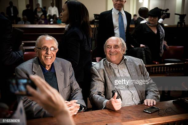 Two defendants from the Rivonia Trial Ahmed Kathrada and Denis Goldberg during the handing over of the digital audio recordings from the Rivonia...