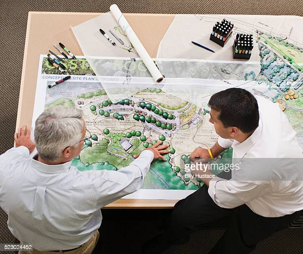 Two design professionals at work in an office