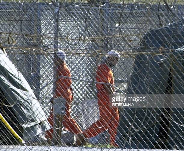 Two detainees exercise in between the caged cells without leg shackles 10 February 2002 during a 1015 minute exercise break at Camp XRay in...