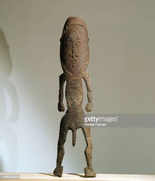 Two dimensional male figure incised on bark from the Papuan Gulf area Papua New Guinea 20th c Gulf of Papua south New Guinea