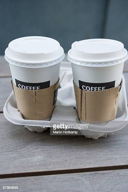 two disposable coffee cups - take away food stock pictures, royalty-free photos & images
