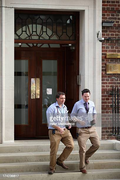 Two doctors leave the Lindo Wing at St Mary's Hospital on July 22 2013 in London England Clarence House have announced that the Duchess of Cambridge...