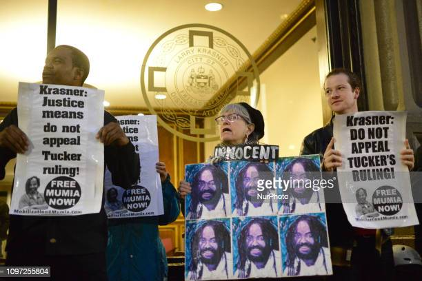 Two dozen rallied to call on Philadelphia district Attorney Larry Krasner to not appeal a recent decision of PA Supreme Court Justice Tucker at a...