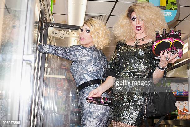 Two drag queens in a general store