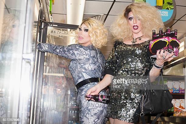 two drag queens in a general store - drag queen fotografías e imágenes de stock