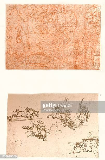 a group of figures in silverpoint on reddishtoned paper a sketch of Horsemen fighting a study for the cartoon of the Battle of Anghiari From The...