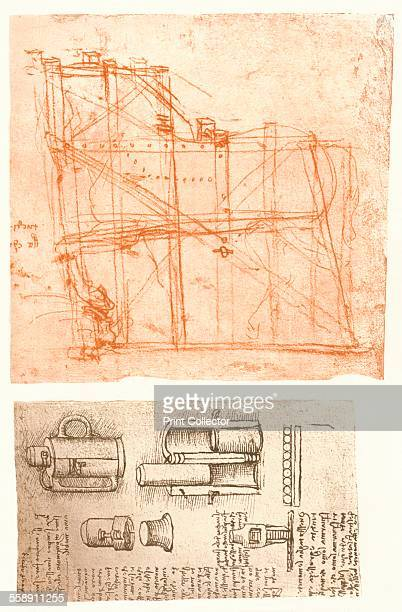 a study for the Sforza Monument in red chalk and a drawing of instruments for the mint of Rome From The Literary Works of Leonardo Da Vinci Vol II by...