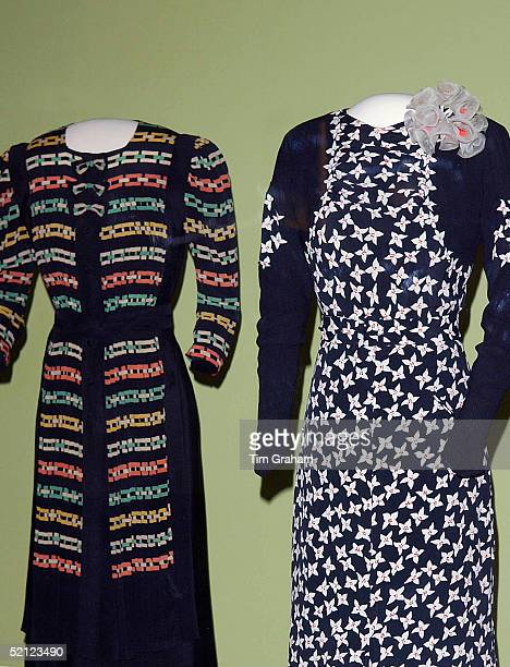 Two dresses are in display at the 'Style and Splendour Queen Maud of Norway's Wardrobe 18961938' exhibition at the Victoria and Albert Museum...