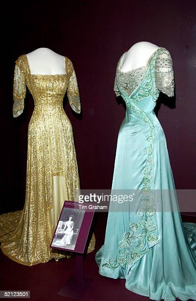 Two dresses are on display at the 'Style and Splendour Queen Maud of Norway's Wardrobe 18961938' exhibition at the Victoria and Albert Museum...