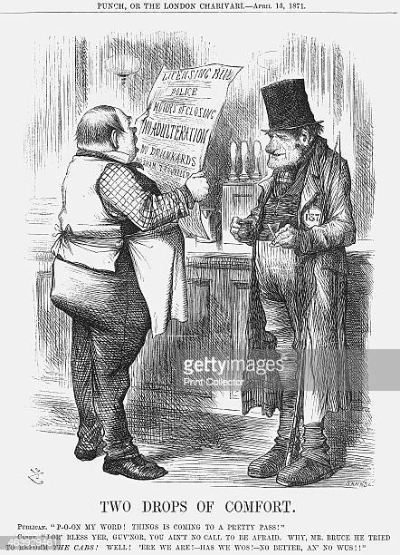 'Two Drops of Comfort' 1871 A publican holds up a notice detailing the latest proposed government measures whilst one of his regulars keeps a firm...
