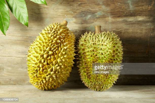 two durians on wooden counter - image stockfoto's en -beelden