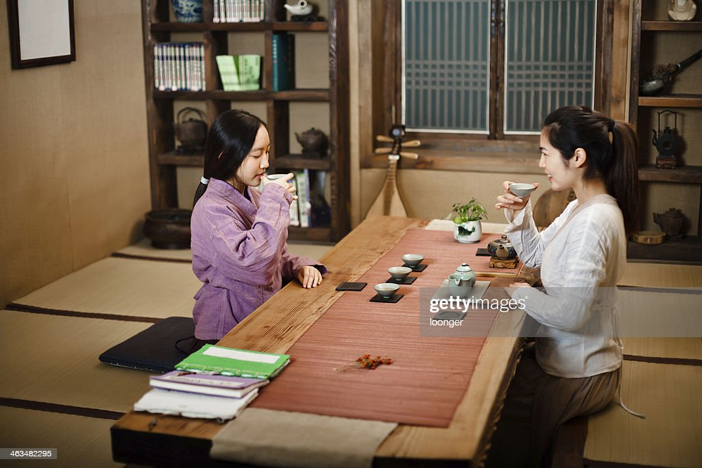 Two east asian girl showing Tea Ceremony : Stock Photo