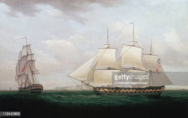 Two East Indiamen off a Coast. At this time the East India Company still governed India. Thomas Whitcombe British painter. Oil on canvas.