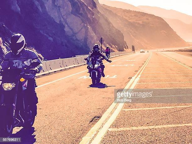 Point Magu Ca May 10 2015 Two easy riders drive up the pacific coast highway in the early morning