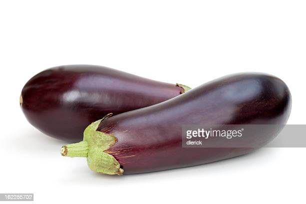 Two Eggplants on White Background