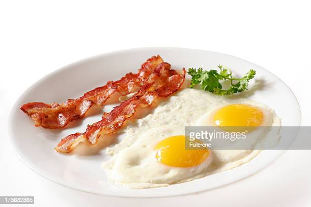 Two eggs over easy with bacon on white plate