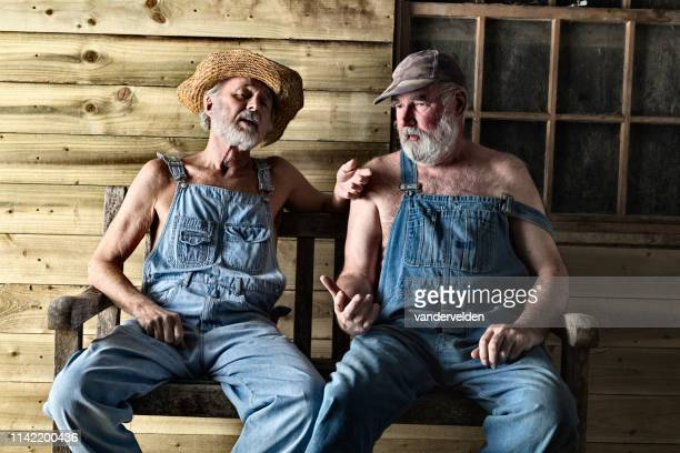 two elderly hillbillies gossiping - hillbilly stock pictures, royalty-free photos & images