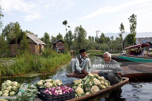 Two elderly men selling vegetables on their boat on Dal Lake shortly after dawn at the floating vegetable market Srinagar Kashmir India
